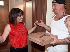 Forget the pizza this milf is hungry for penish. Forget the pizza. This MILF is hungry for penish. Pandora, a 56-year-old British MILF, orders two large Hawaiian pizzas, no artichokes, but when the delivery guy arrives, she decides she'd rather have his penish than dinner.  She invites him in and opens the pizza box, checking for artichokes.  I'm sure there's something I could choke on, she says. Come with me.  The thing is, he doesn't speak her language and doesn't understand a word she says...until she says, I would really love to fucked you. have sex is one of those words everyone understands.  So Pandora takes him to her bedroom, where she sucks his dick, hops on top of it, rides it cruel and jacks him onto her nice face. The pizza's getting cold, but that's what microwaves are for.  And what are pizza delivery guys for To fucked libidinous MILFs. At least that's the impression I've gotten from a lifetime of watching porn.  Fast poll: Who gets more porn cunt  A. Pizza delivery guys B. Cable guys C. Plumbers D. Electricians  Anyway, about Pandora. She's from Luton, which is north of London. She's a mother and grandmother. She works in wedding planning. She's divorced. She's a swinger. She likes men who wear suits. We found her on Twitter. The best job she's ever had  Shooting for you, of course!  Of course!  The best job for men who want to have sex with porn MILFs My vote goes to pizza delivery guys.See More of Pandora at 50PLUSMILFS.COM!