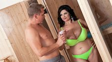 First xxx! sweet!. First XXX! good! And now for Natasha good's hardcore debut. We knew she was hot. Now we know how hot Natasha is.  Spending the day at a spa, Natasha is decked out in a neon green bra and panties, her spectacular, natural breasts looking like they could bend her bra hooks. They probably do. She enters the sauna and wets herself down with a squirt gun.  Steve enters the sauna area and reclines on a lounger right outside the sauna room. Natasha checks him out and her sauna session loses importance. She opens the door and picks up a bottle of baby oil, signaling him that she needs his hands to rub some oil into her supple skin. To make her point as clear as a blue sky, she rubs some oil on her big breasts. Her next step would be to fire a flare gun to show him how exciting she is.  Steve's been with SCORELAND a cute five years and he knows to help a lovely SCORELAND Girl who's having an oil crisis. He unhooks her bra and Natasha's world-class breasts fall out of the cups. Getting turned on from her oily back rub, Natasha reaches behind for his poker. He forgets her back and works on her front. Her hooters, now shining, overflow in his palms.   It's too hot to have fun in the sauna so they get busy right outside it. Natasha drops to her knees and, squeezing her national treasures together gives him a simultaneous tit-fucking and penish sucking. She licks his penish and ball sack like it's an ice cream cone. Natasha lies on the lounger, pressing her breasts against her chest. Steve spreads her legs wide and buries his face in her cunt to give her the exciting tongue-lashing she rightfully deserves.   When the brunette brickhouse explodes, the time is right to slip her the boner. They fuck and when he feels himself about to bust a nut, Natasha takes his penish in her hand and jerks him, covering her cunt with his cum. Now it's time for them to work up a sweat of a different kind in that sauna. See More of Natasha good at PORNMEGALOAD.COM!