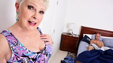 Bjewel is a granny jimmy is her grandson's friend/b. Jewel is a granny. Jimmy is her grandson's friend Jewel walks downstairs to wake up her grandson, who was out partying the night before and is going to be late to work. But when she walks by her grandson's bedroom, she finds his friend jacking off. She either can't believe he's jacking off or can't believe the size of his penish. She starts sensual herself then decides to walk in on him. He doesn't stop jacking his penish even while she's talking to him.   I'm sorry, Jimmy says. It just feels so beautiful.  She's heard that before.  It's quite odd, sitting here jacking your penish, 67-year-old Jewel says.  I'm sorry, Jimmy says.  Wouldn't need any help with that, would you  I was thinking about you in this morning, Jimmy says.  Maybe I can help you with that, Jewel says. What do you think  He thinks it's a beautiful idea. She compliments him on his penish. He compliments her on her tits. He's fantasized about have sexual intercourse her, and now she's going to make those fantasies come true.  My grandson does not need to know everything I do, she says before she goes down on his penish and starts cock blow it.  And before long, this Southern belle, one of the most-popular wives and grannies ever, is cock blow his penish and getting have sexual intercourse. And then Jimmy's cum all over her lovely face.  Question: What do you want to see Jewel do next (anal is not on the menu, by the way). Got any favorite Jewel scenarios Have you ever have sexual intercourse your friend's mother or grandmother If so, tell us what happened.See More of Jewel at PORNMEGALOAD.COM!