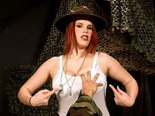 Curvy drill sergeant. Busty Drill Sergeant busty drill sergeant Jolie Rain works your private parts over this point-of-view training session at boob camp. She makes sure you get an honorable discharge all over her big tits. Jolie is an actual veteran and served in Iraq.  I'm really bad in the bedroom, said Jolie. That's an understatement I like hair pulling and biting. Talking really, really dirty. I'm kind of a submissive. I've done bondage and have done it quite a bit. But I also like good, violent sex. It's so much fun. I don't typically do one-night stands, but there have been times where it's just been, 'Okay, I can't pass that up!'  See More of Jolie Rain at SCORELAND.COM!
