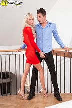 46-year-old alexis fucks a 26-year-old. In her second scene, beautiful, long-legged blonde Alexis Starr takes on the penish of a 26-year-old. Alexis is 46, so he's young enough to be her son. He isn't, of course. But Alexis, who's divorced, is a mother and a grandmother.  It's really unbelievable how pleasant these grandmothers look. Check out the opening photos, in which Alexis is wearing a short, very tight dress. She's standing at the top of a staircase, and when the guy walks in and looks up, he can't believe the view. Talk about upskirt! Alexis is also a flexible lady, so the dude fucks her while standing up. It's a heckuva debut for this British MILF.  Alexis lives in London, England, and she said, The men I love have two eyes, a heartbeat and a stiff penish. Most people I know wouldn't be surprised to see me here. I'm a self-confessed exhibitionist.  Alexis isn't a swinger or a nudist, but she has been a stripper. No surprise with that body. And she found us; she sent us her pictures. We said, Come on down!  Alexis is a soccer fan. Her team is Tottenham Hotspur. She works with rescue dogs. She likes to go out wearing long leather boots with a stylish coat and very little underneath.  She's our kind of woman. See More of Alexis Starr at 40SOMETHINGMAG.COM!