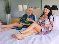 Bin bed with leah l'amour and rita daniels/b. In bed with Leah L'Amour and Rita Daniels As a prelude to their three-way have sexual intercourse with a young stud, large grannies Rita Daniels, 66, and Leah L'Amour, 64, relax in bed and talk about sex. This is the first time they've met, but they have a lot in common and a lot to talk about. Both ladies have large tits. Both ladies have shaved pussies. Both ladies love to have sexual intercourse and love it more the older they get.  They discuss their favorite positions. Rita's is DP. Is that a position  I'm going to have to try that, Leah says.  Leah says she likes going in the freezer section of supermarkets so young guys can check out her heavy nipples.  Rita asks Leah where she likes to have sex.  I'm up for almost anything, Leah says. Anything, anywhere, I'm up for it. I don't know what's happened to me. The older I get, the more I love it.  Rita and Leah start playing with themselves. They talk about being into women. Rita talks about giving her guy a blowjob job while they're driving. Leah admits to flashing truckers.  And now they're going to have something new to talk about: have sexual intercourseing a young stud on-camera. See More of Rita Daniels at 60PLUSMILFS.COM!