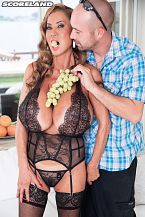 The adventures of super-minka. In a boob science experiment, Jim compares fruit to Minka's mega-boobs. That's like comparing apples to oranges. He'd need to find super-watermelons that come close to stacking up to slim and trim Minka's famous knockers.  Minka's equally famous protruding nipples hypnotize him. That's why her nickname is Nipple #1. He blowjobs and rubs her rough pointers while Minka teases him and rubs his package. She'd like to see his banana. It's only fair.  They head to the couch so he can lick her neatly trimmed pie and she can blowjob on his banana. Minka's tight hole is his again for the taking, as it was in Minka's previous scene, Mega-Boobs Office, when he was her boss. Wedging his rough shaft into Minka's squeeze-box and boning her in cowgirl, missionary and doggie makes him lose his fuck load all over chest. This is always the ultimate outcome in a Minka encounter.  Afterwards, Minka told the photographer, It was fun, but my body is very tired. It is always fun. Having sex with a great penish is like playing three sets of tennis! My cunt is numb! Minka prefers average cocks. My favorite kind of penish is five inches! Little penishs, I enjoy. It's more exciting. But with great penishs, I cannot move. I can fuck, but it's rough. Little penishs are much better. I love them. How often do you see a porn star admit that See More of Minka at SCORELAND.COM!