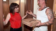 Forget the pizza this milf is hungry for cock. Forget the pizza. This MILF is hungry for penish. Pandora, a 56-year-old British MILF, orders two large Hawaiian pizzas, no artichokes, but when the delivery guy arrives, she decides she'd rather have his penish than dinner.  She invites him in and opens the pizza box, checking for artichokes.  I'm sure there's something I could choke on, she says. Come with me.  The thing is, he doesn't speak her language and doesn't understand a word she says...until she says, I would really love to have sex you. have sexual intercourse is one of those words everyone understands.  So Pandora takes him to her bedroom, where she cock sucking his dick, hops on top of it, rides it cruel and jacks him onto her inviting face. The pizza's getting cold, but that's what microwaves are for.  And what are pizza delivery guys for To have sex exciting MILFs. At least that's the impression I've gotten from a lifetime of watching porn.  Fast poll: Who gets more porn cunt  A. Pizza delivery guys B. Cable guys C. Plumbers D. Electricians  Anyway, about Pandora. She's from Luton, which is north of London. She's a mother and grandmother. She works in wedding planning. She's divorced. She's a swinger. She likes men who wear suits. We found her on Twitter. The best job she's ever had  Shooting for you, of course!  Of course!  The best job for men who want to have sex with porn MILFs My vote goes to pizza delivery guys.See More of Pandora at PORNMEGALOAD.COM!