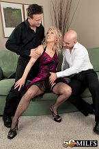 Bmilena gets dp'd/b. Milena gets DP'd Milena is the kind of woman who can give a guy something to celebrate. She's a libidinous blonde with lovely natural tits and a tight little body. And here, she gives two guys something to celebrate.  The guys have brought the champagne. Milena has brought her mouth, vagina and asshole. The guys take turns on all three, but by the end, there's no more taking turns: they're DPing this 55-year-old divorcee. And you know what we told you last time about Milena being a swallower, not a spitter She proves it here. Once again.  Milena, who's from Prague, Czech Republic, lived in New York City for a while and is now back in Prague. We're guessing that the folks in NYC weren't liberal enough sexually for Milena. She enjoys reading, watching TV, getting DP'd and cum. We asked her if she has any special talents, and she said, I can squirt.  When she masturbates, she often fucks herself in her vagina and ass at the same time. Some would call that practice for this scene. Milena calls it pleasure.  There are a lot of women in the Czech Republic who love to get DP'd. Milena is one of them. See More of Milena at 50PLUSMILFS.COM!