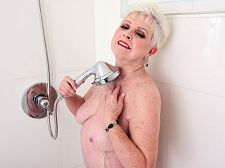Shower time with great granny jewel. Shower time with big granny