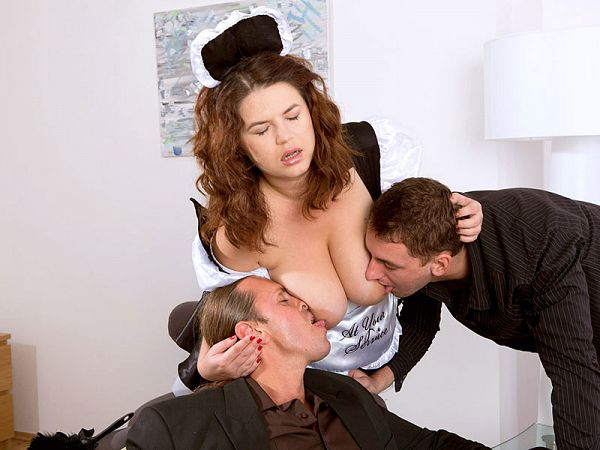 Tag-team fuck for a Romanian French maid