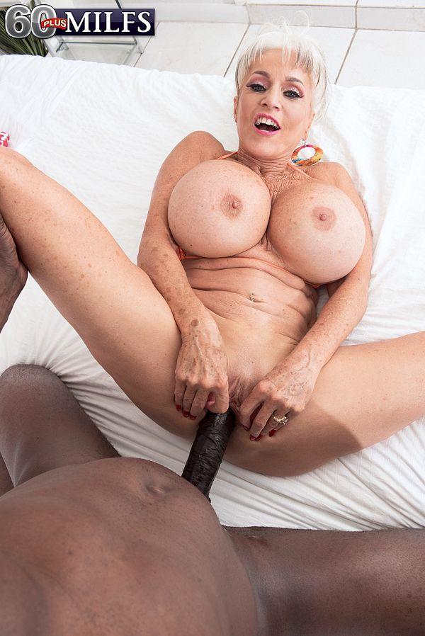 Super-stacked, super-GILF Sally fucks a big, black cock